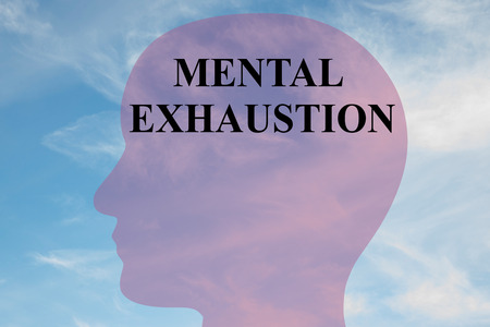 Render illustration of MENTAL EXHAUSTION title on head silhouette, with cloudy sky as a background.