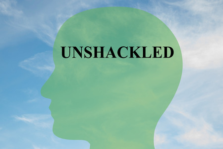 unleash: Render illustration of UNSHACKLED script on head silhouette, with cloudy sky as a background.