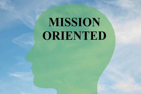 oriented: Render illustration of MISSION ORIENTED script on head silhouette, with cloudy sky as a background.