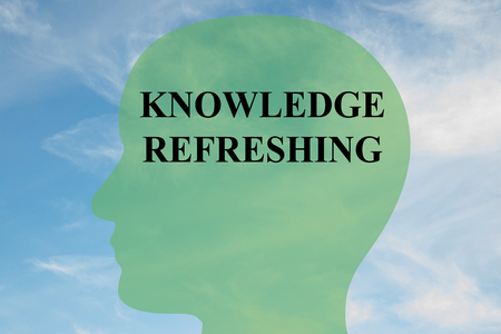 refreshing: Render illustration of KNOWLEDGE REFRESHING script on head silhouette, with cloudy sky as a background.