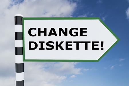 growth enhancement: 3D illustration of CHANGE DISKETTE! script on road sign