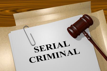 demented: 3D illustration of SERIAL CRIMINAL title on legal document Stock Photo