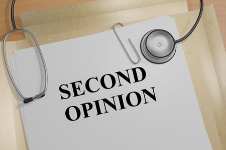 opinion: 3D illustration of SECOND OPINION title on a document