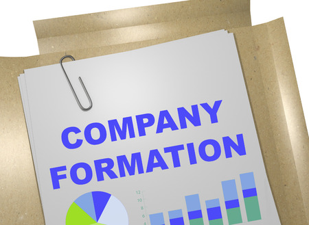3D illustration of COMPANY FORMATION title on business document