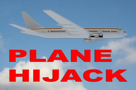hijacked: 3D illustration of PLANE HIJACK title on cloudy sky as a background, under an airplane. Stock Photo