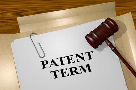 patent: 3D illustration of PATENT TERM title on legal document