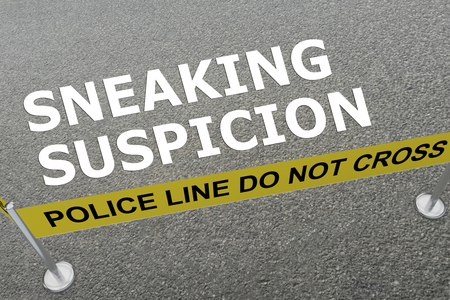 sneaking: 3D illustration of SNEAKING SUSPICION title on the ground in a police arena Stock Photo