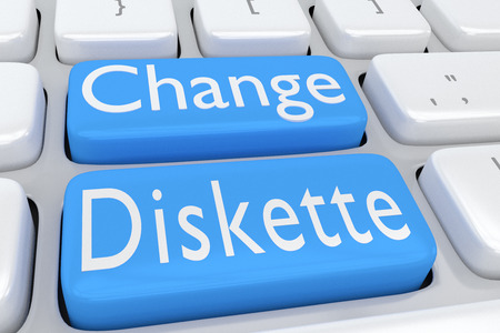 3D illustration of computer keyboard with the script Change Diskette on two adjacent pale blue buttons Stock Photo