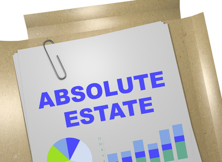 ownership equity: 3D illustration of ABSOLUTE ESTATE title on business document