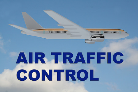 traffic control: 3D illustration of AIR TRAFFIC CONTROL title on cloudy sky as a background, under an airplane. Stock Photo