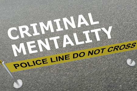 mentality: 3D illustration of CRIMINAL MENTALITY title on the ground in a police arena
