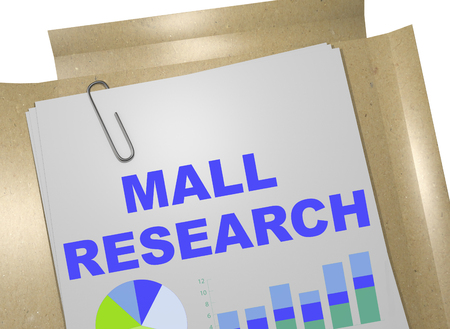 subconscious: 3D illustration of MALL RESEARCH title on business document