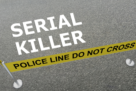 demented: 3D illustration of SERIAL KILLER title on the ground in a police arena Stock Photo