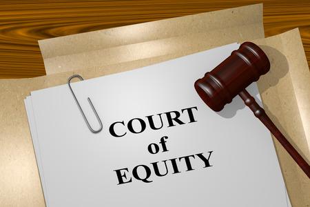 """equidad: Ilustración 3D de """"corte de la equidad"""" del título de documento legal"""