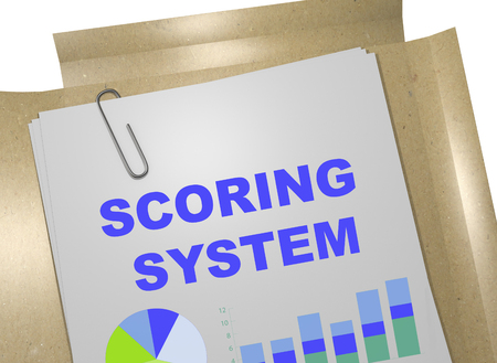3D illustration of SCORING SYSTEM title on business document