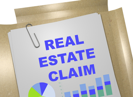 possession: 3D illustration of REAL ESTATE CLAIM title on business document Stock Photo