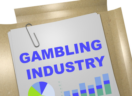 industry: 3D illustration of GAMBLING INDUSTRY title on business document Stock Photo