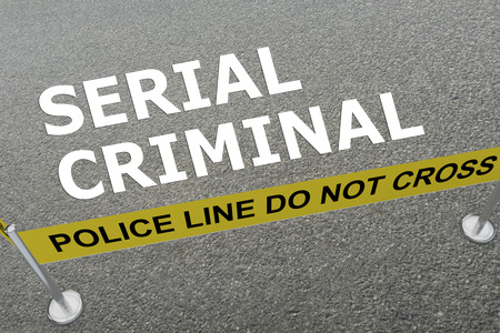 demented: 3D illustration of SERIAL CRIMINAL title on the ground in a police arena