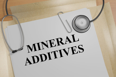 additives: 3D illustration of MINERAL ADDITIVES title on a document Stock Photo