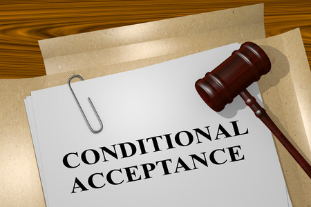 use regulation: 3D illustration of CONDITIONAL ACCEPTANCE title on legal document