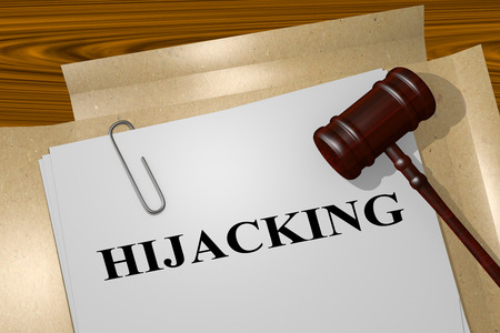 hijacking: 3D illustration of HIJACKING title on legal document Stock Photo