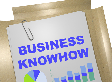 knowhow: 3D illustration of BUSINESS KNOWHOW title on business document Stock Photo