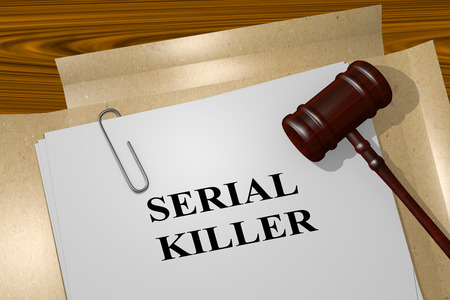 demented: 3D illustration of SERIAL KILLER title on legal document Stock Photo
