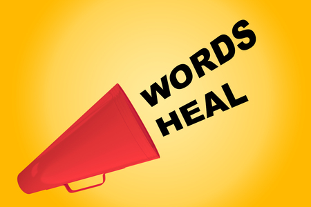 3D illustration of WORDS HEAL title flowing from a loudspeaker. As soon as possible. Stock Photo