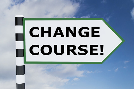 3D illustration of CHANGE COURSE! script on road sign