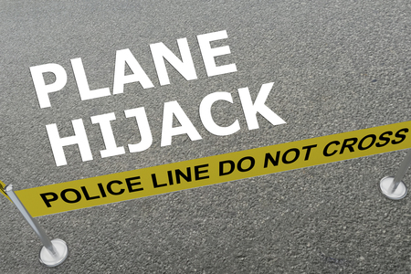 hijacked: 3D illustration of PLANE HIJACK title on the ground in a police arena Stock Photo