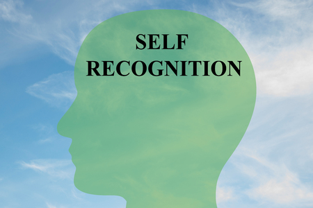 Render illustration of SELF RECOGNITION script on head silhouette, with cloudy sky as a background. Stock Photo