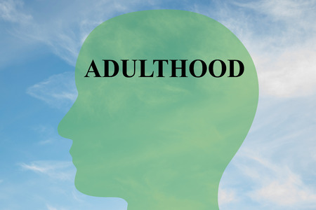 Render illustration of ADULTHOOD script on head silhouette, with cloudy sky as a background.
