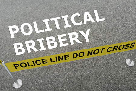 bribery: 3D illustration of POLITICAL BRIBERY title on the ground in a police arena Stock Photo