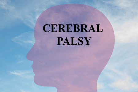 cerebral palsy: Render illustration of CEREBRAL PALSY title on head silhouette, with cloudy sky as a background.