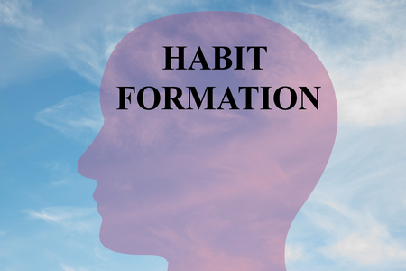 Render illustration of HABIT FORMATION title on head silhouette, with cloudy sky as a background.