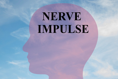 impulse: Render illustration of NERVE IMPULSE title on head silhouette, with cloudy sky as a background. Stock Photo