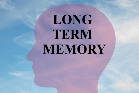 dyslexia: Render illustration of LONG TERM MEMORY title on head silhouette, with cloudy sky as a background.