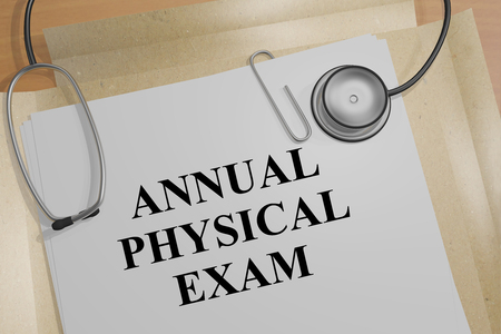 general warning: 3D illustration of ANNUAL PHYSICAL EXAM title on a document