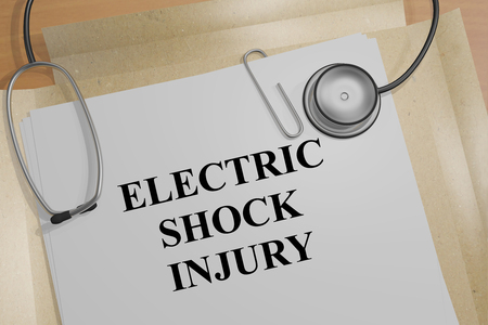 3D illustration of ELECTRIC SHOCK INJURY title on a medical document Stock Photo