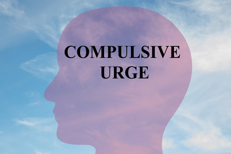 urge: Render illustration of COMPULSIVE URGE title on head silhouette, with cloudy sky as a background. Stock Photo