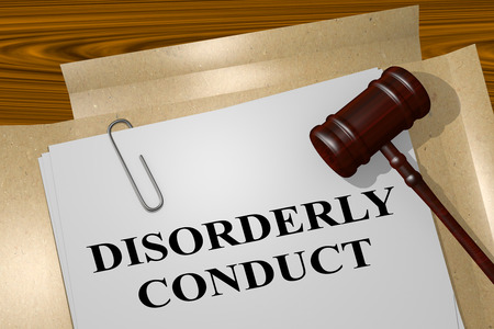 3D illustration of DISORDERLY CONDUCT title on legal document