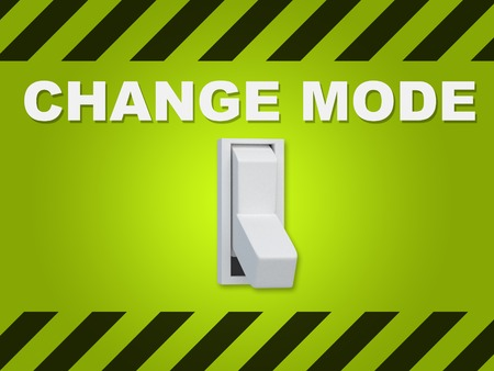 3D illustration of CHANGE MODE title above an electric switch on green wall