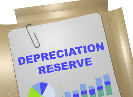 downfall: 3D illustration of DEPRECIATION RESERVE title on business document