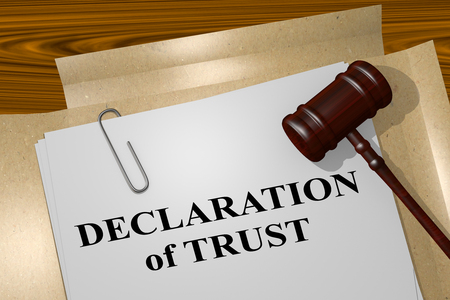 middleware: 3D illustration of DECLARATION of TRUST title on legal document