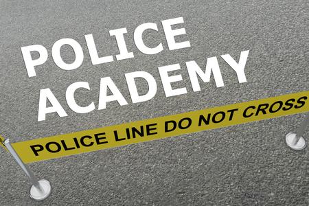 地上では警察の分野で「ポリス アカデミー」のタイトルの 3 D イラストレーション
