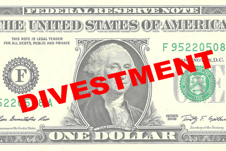 migrate: Render illustration of DIVESTMENT title on One Dollar bill as a background Stock Photo