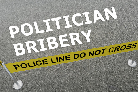 bribery: 3D illustration of POLITICIAN BRIBERY title on the ground in a police arena