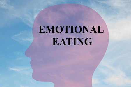 comfort food: Render illustration of EMOTIONAL EATING title on head silhouette, with cloudy sky as a background. Stock Photo