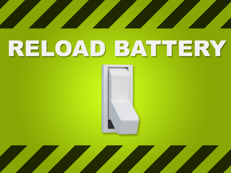 3D illustration of RELOAD BATTERY title above an electric switch on green wall