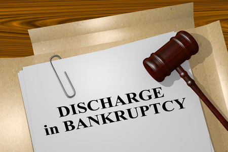 cruddy: 3D illustration of DISCHARGE in BANKRUPTCY title on legal document Stock Photo